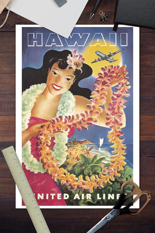 Amazon United Airlines Hawaii Artist Feher Usa C 1950