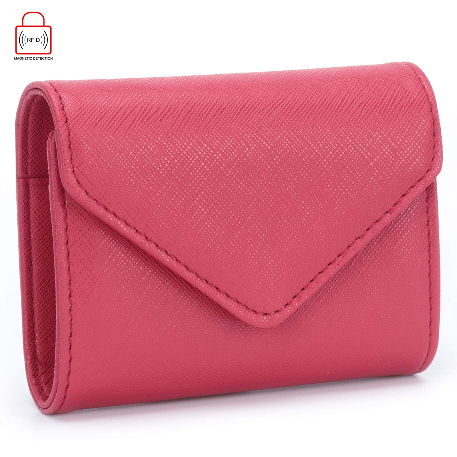 MuLier RFID Blocking Womens Leather Card Case Wallet Envelope Card Wallet Purse (Red) CH0024-red