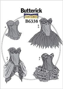 BUTTERICK PATTERNS B6338 Curved-Hem Corsets & Skirts, A5 (6-8-10-12-14)