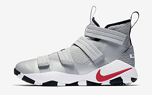 57ab252ddd5 Nike Lebron Soldier XI Men Basketball Metallic Silver White Black Varsity  Red 897646