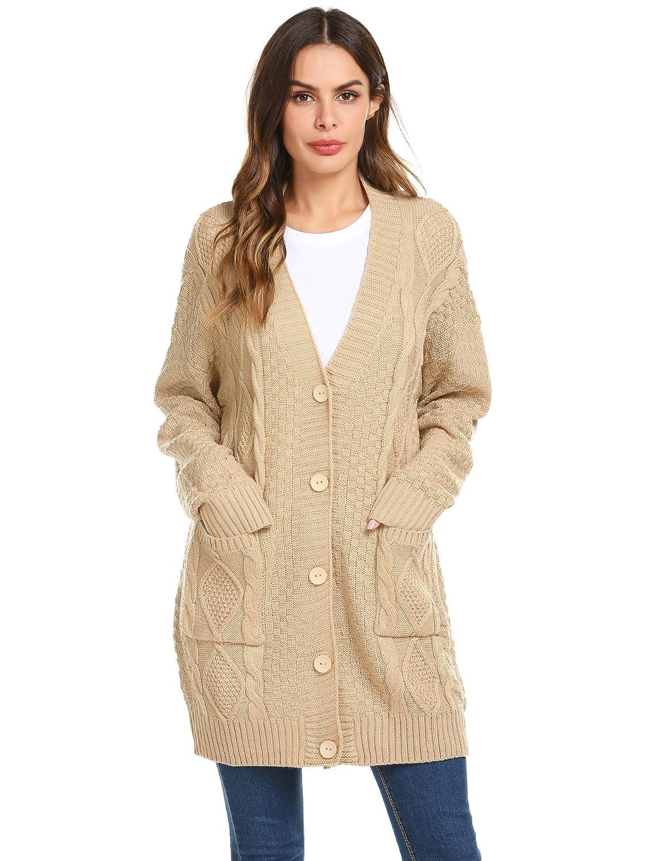 28dbbe74b2 SoTeer Women s Cable Twist School Wear Boyfriend Pocket Open Front Cardigan  Warm Pullover Sweater at Amazon Women s Clothing store