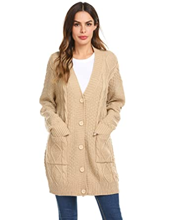 ae2997d794 Soteer Women s Loose Fit Long Sleeve Knitted Cardigan Sweaters Outerwear  with Pocket (Khaki