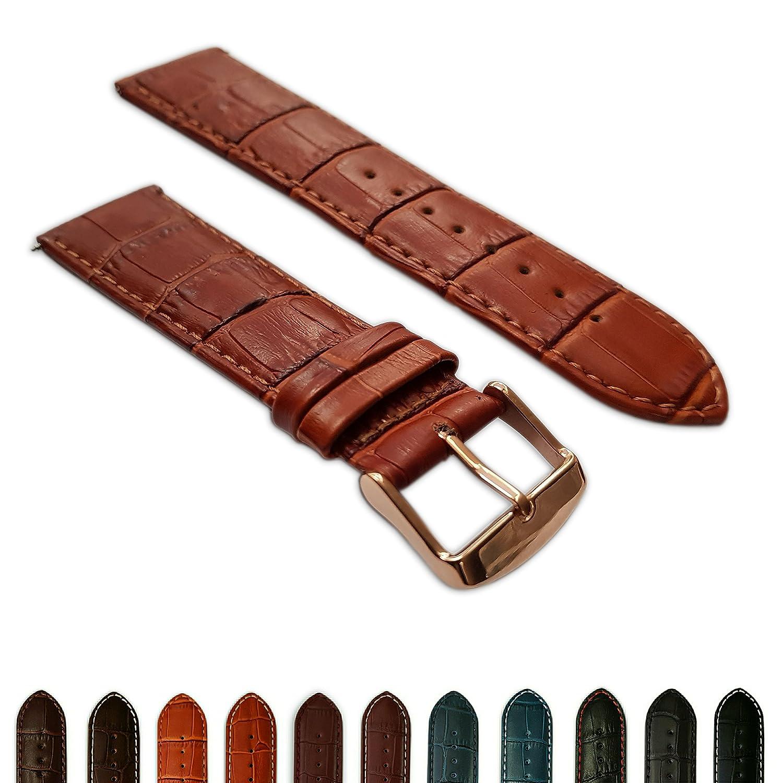 20 mm Tan Genuine Leather Mock Croc時計ストラップバンドメンズクロコダイルパッド入りローズゴールドバックル  B072K3CN37