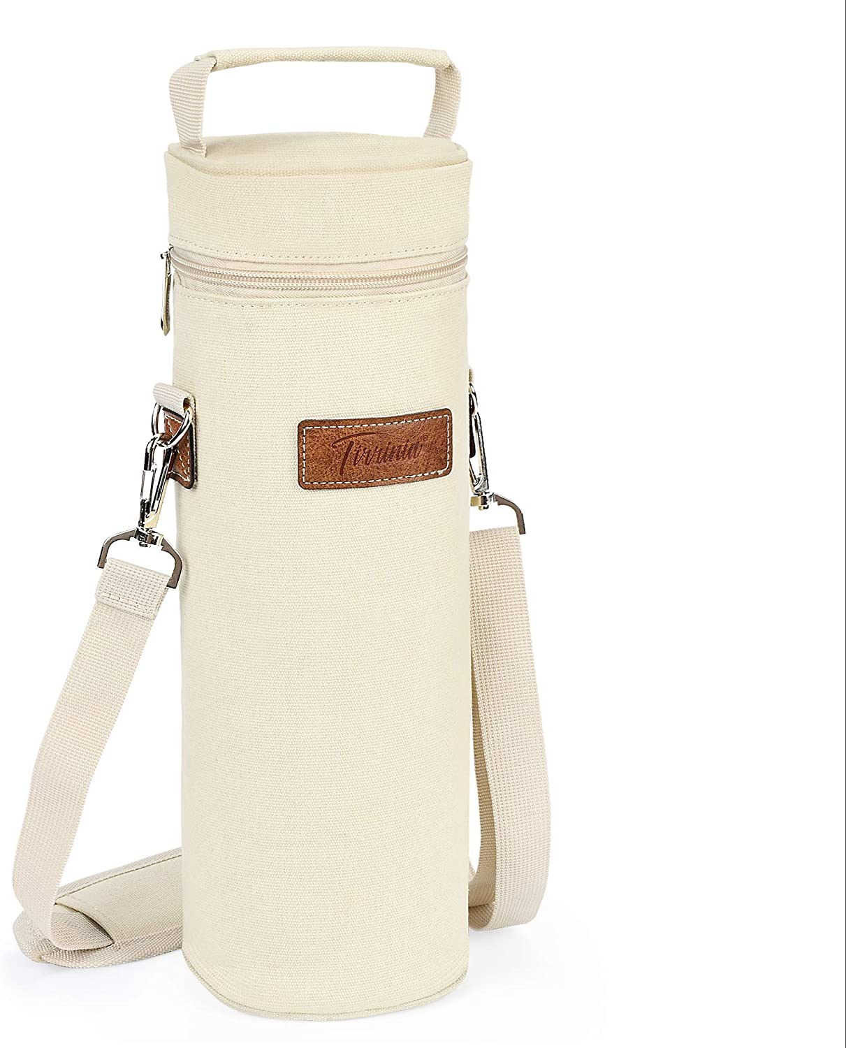 Tirrinia Single Wine Cooler Bags - Insulated & Padded Portable Wine Tote Carrier for Travel, BYOB Restaurant, Wine Tasting, Party, Great Gift for Wine Lover, Beige