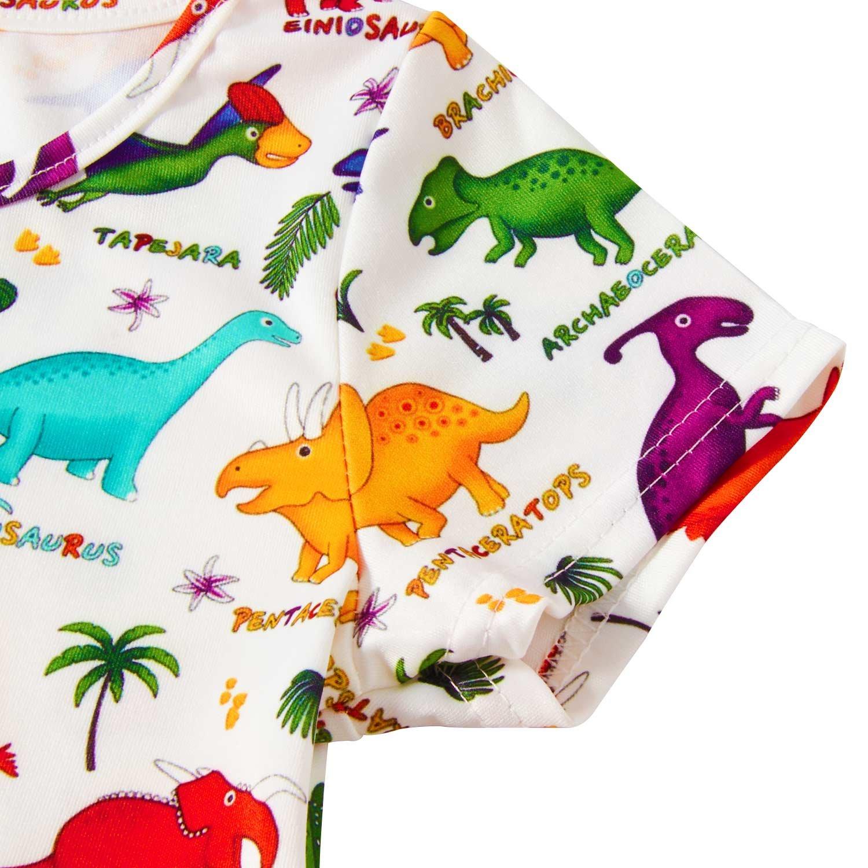 RAISEVERN Girls Summer Short Sleeve Dress Dinosaurs Printing Casual Dress Kids 8-9 Years by RAISEVERN (Image #3)