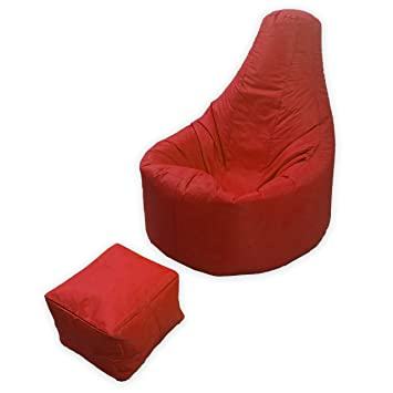 Large Gaming Beanbag Indoor And Outdoor Garden Lounge Gamer Chair With Matching Foot Stool In Red