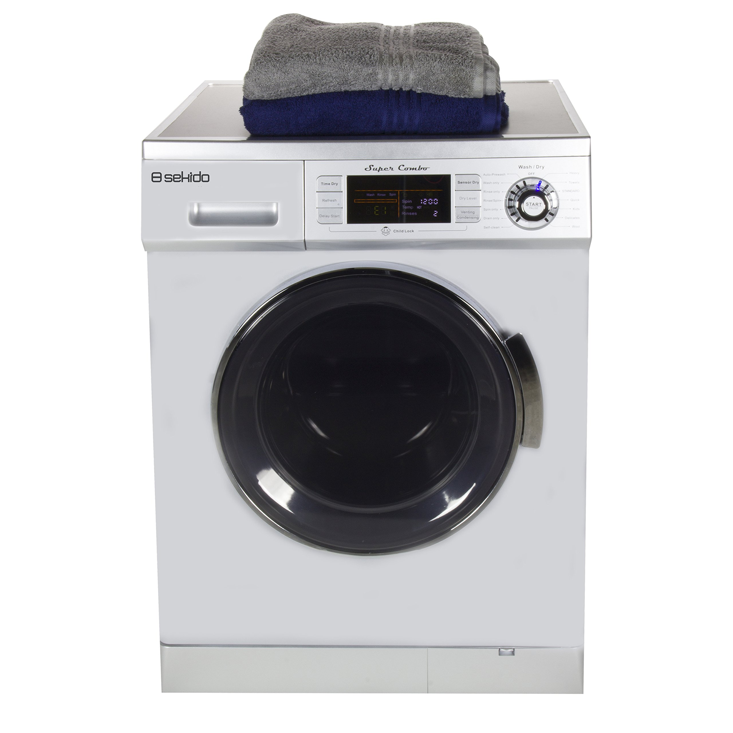All in one Front Load 1.6 Cu.ft. New Compact Combo Washer Dryer SK 4400 CV Silver with Optional Venting/ Condensing Drying with Automatic Water Level and Sensor Dry