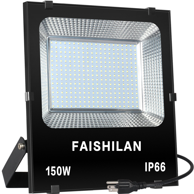 FAISHILAN 150W LED Flood Light, 750W Halogen Equiv Outdoor Work Lights, IP66 Waterproof with US-3 Plug & Switch 15000Lm for Garage,Garden,Yard