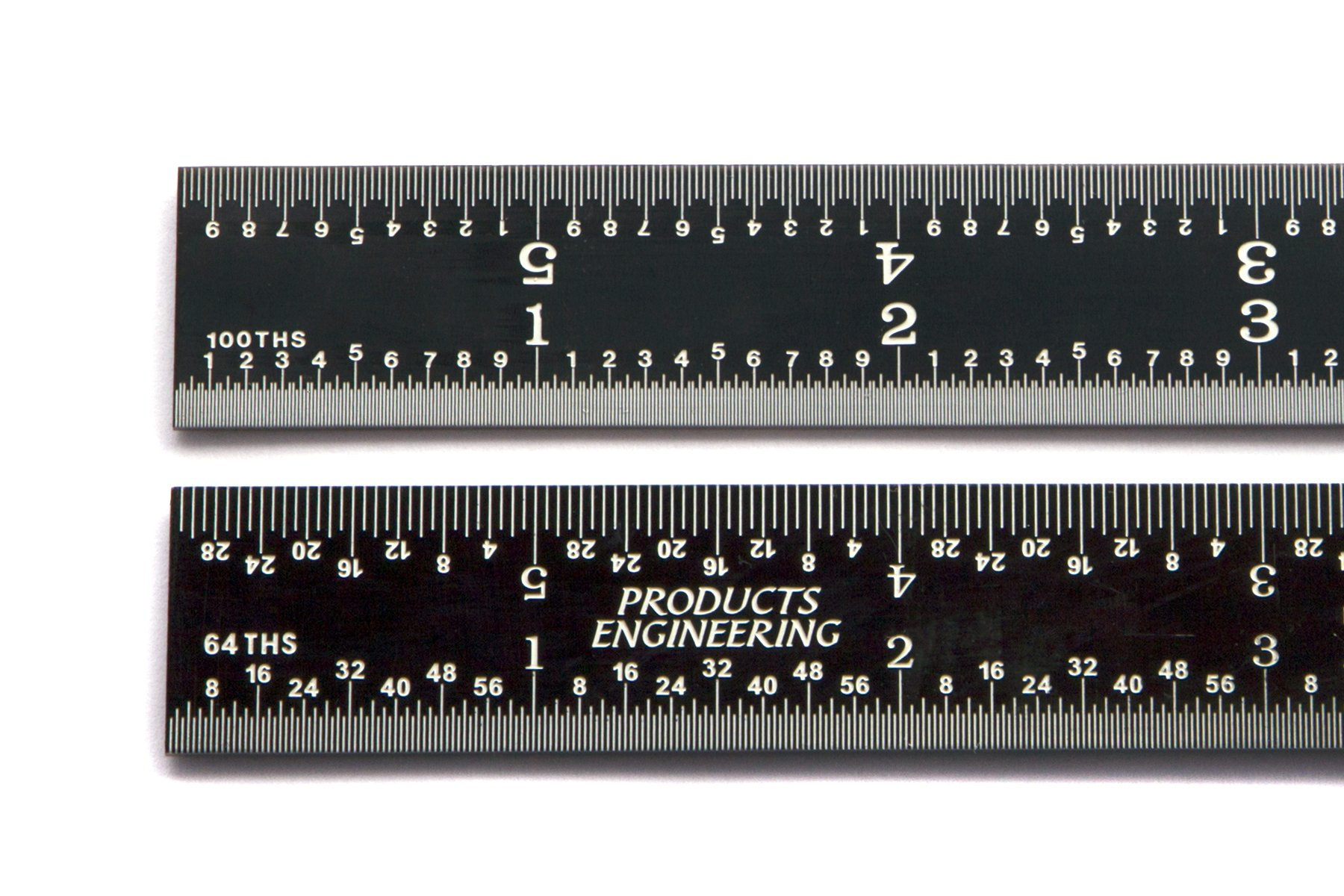 PEC Tools 12'' precision 16R rigid ruler Black Chrome ''High Contrast'' 1/50, 1/100, 1/32, 1/64
