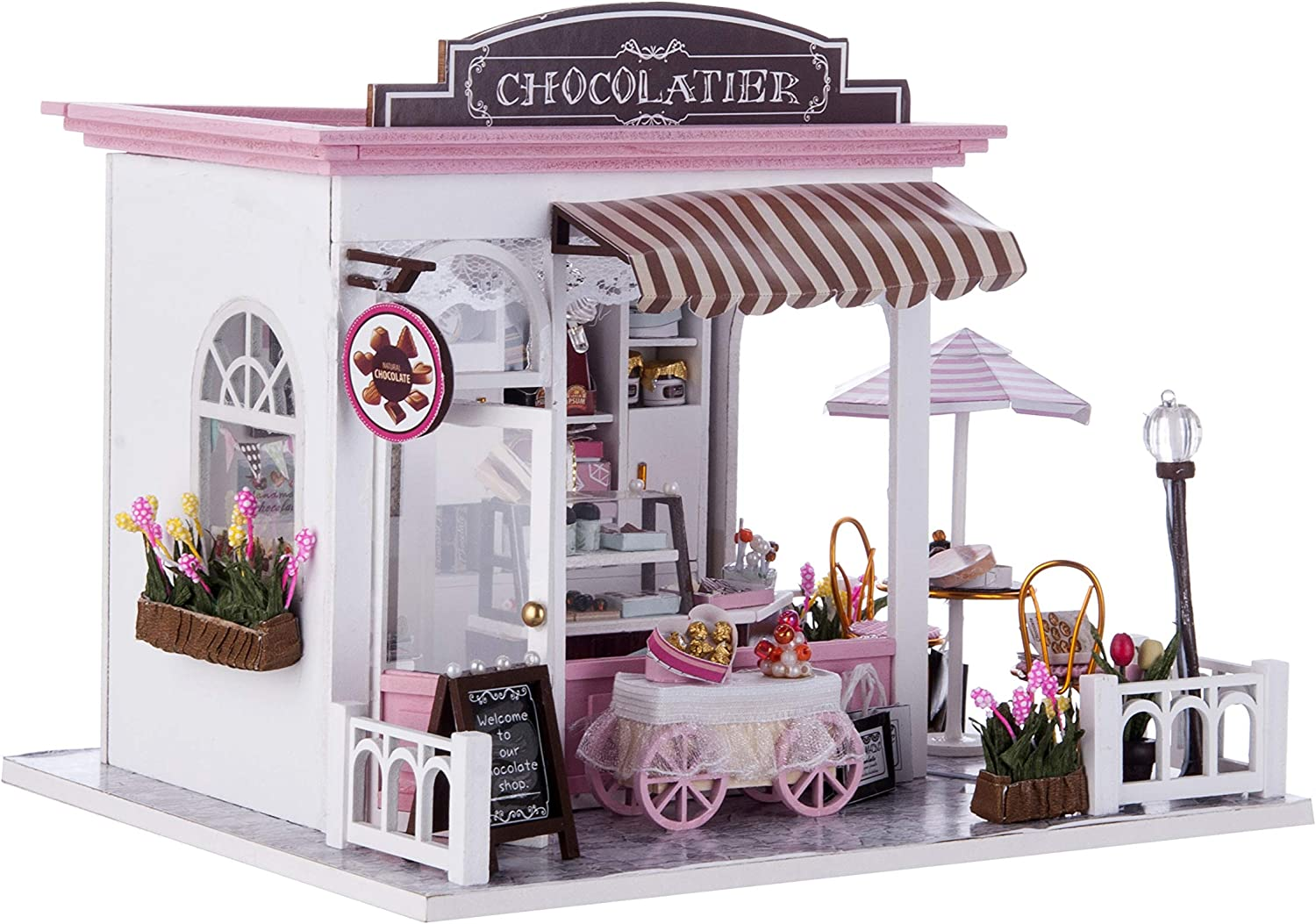 TORCH-CN Miniature Dollhouse Kit Decorations with Lights and Furnitures DIY House Craft Kits House Model Best Birthdays Gifts for Boys and Girls (Chocolatier)