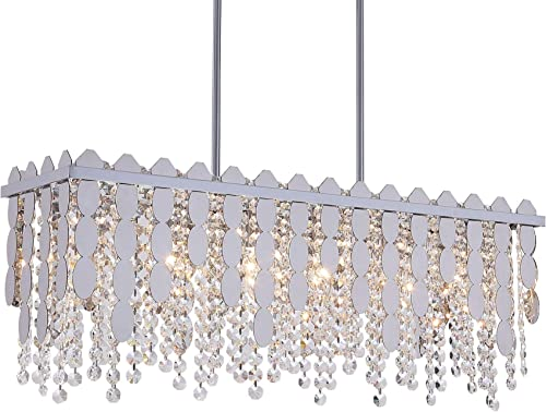 Q S Rectangle Crystal Chandelier, Modern Crystal Pendant Light, 6 Lights Linear Large Metal Polished Chrome Raindrop Ceiling Light for Dinning Room, Living Room,Kitchen Island, Hotel Lobby.