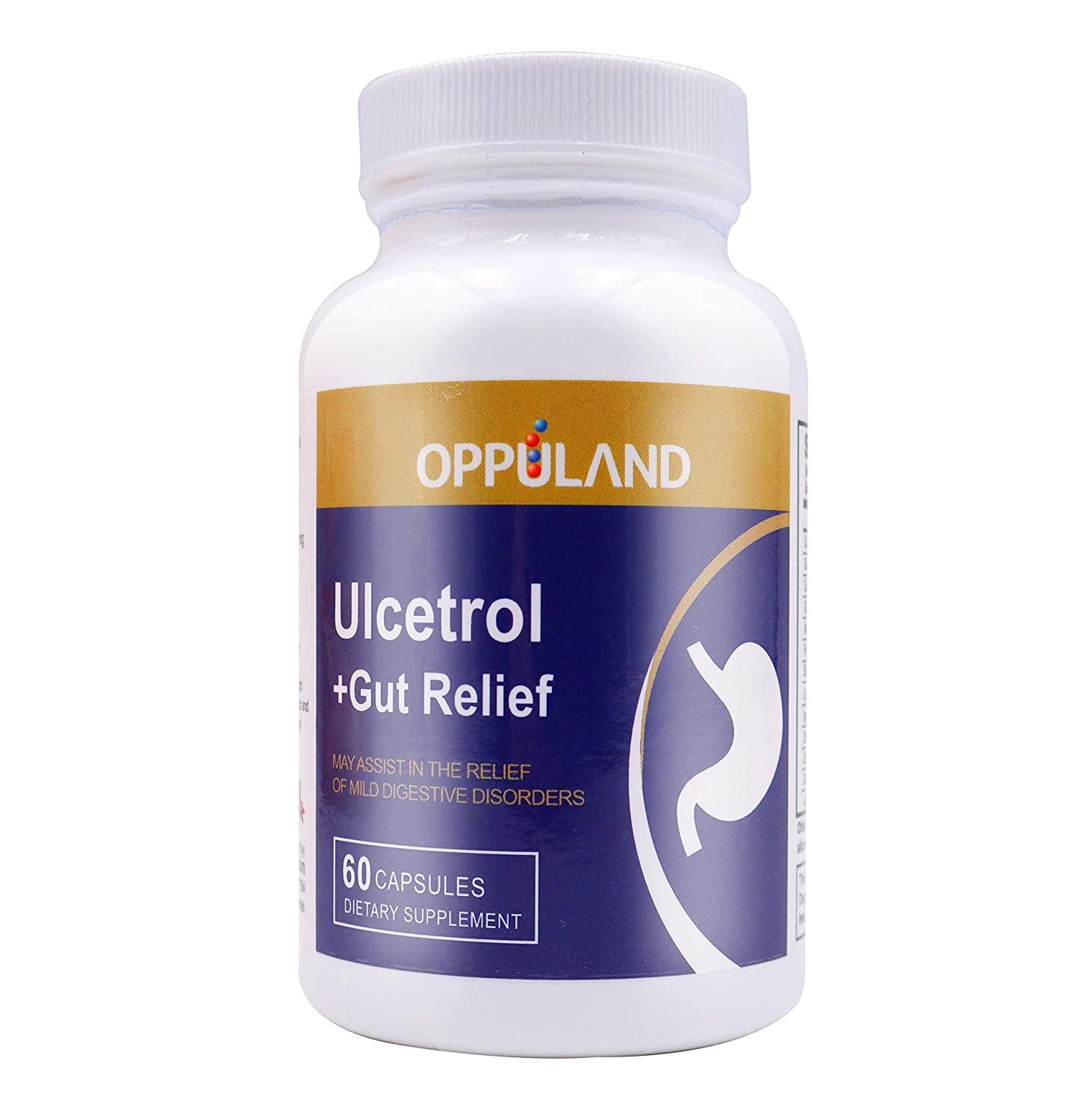 Amazon.com: Oppuland Ulcetrol + Gut Relief, Digestive Health, Supports Health and Comfort of Stomach Lining Cells, 60 Capsules: Health & Personal Care