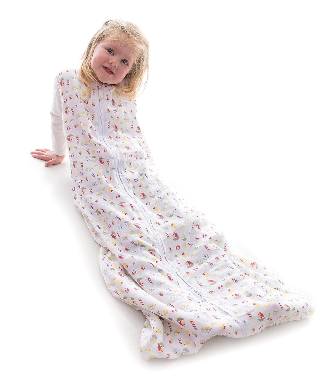 Snoozebag Saco de Dormir de algodón 100% Muselina, 0,5 TOG Talla:6-18 Meses Babycurls SB-SF0.5