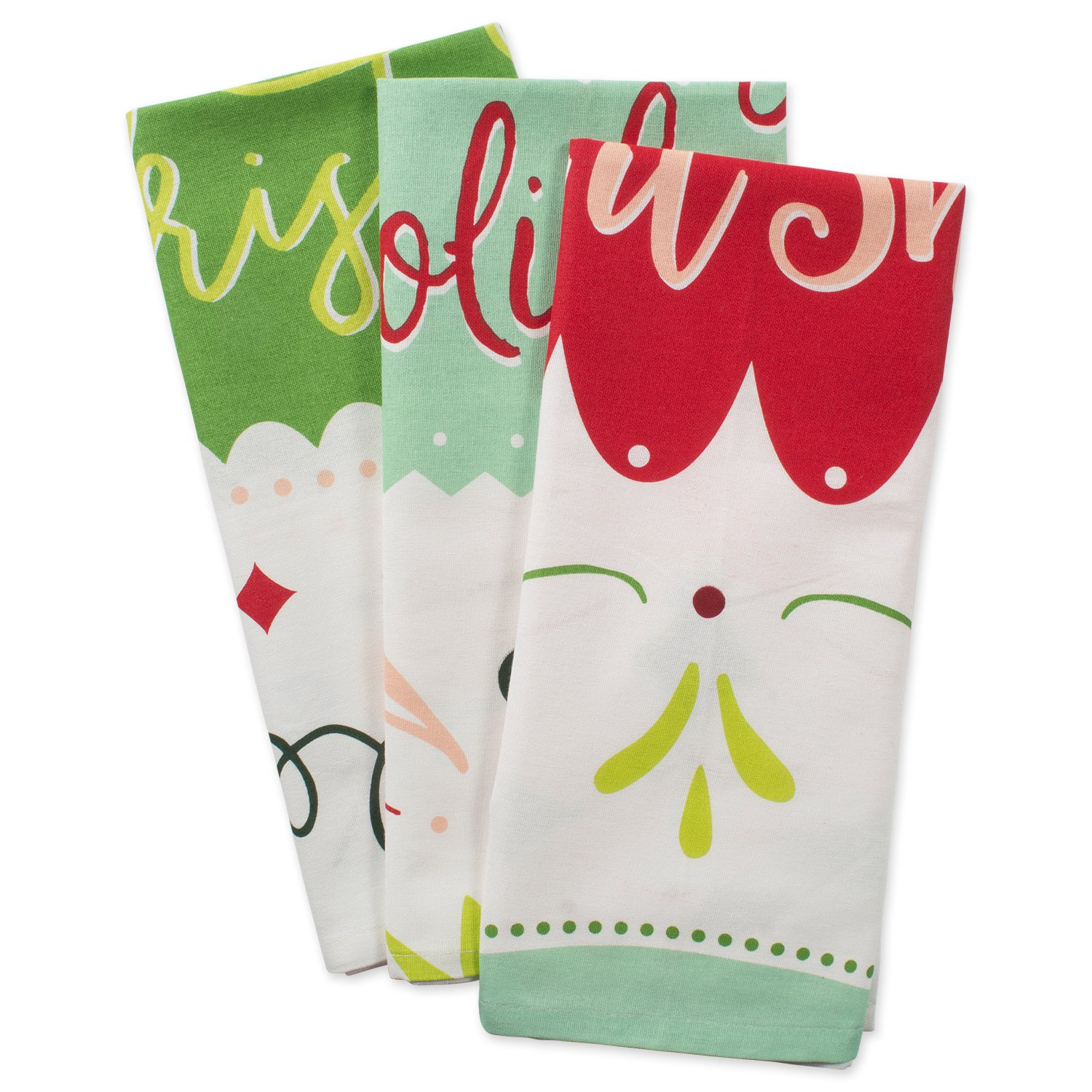 """DII Cotton Christmas Holiday Printed Dish Towels, 18x28"""" Set of 2, Decorative Oversized Kitchen Towels, Perfect Home and Kitchen Gift-O Xmas 18x28"""" Set of 2 CAMZ10843"""