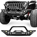 Nilight Front Bumper Compatible for 07-18 Jeep Wrangler JK & Unlimited Rock Crawler Bumper with 4 x LED Lights, Winch Plate a