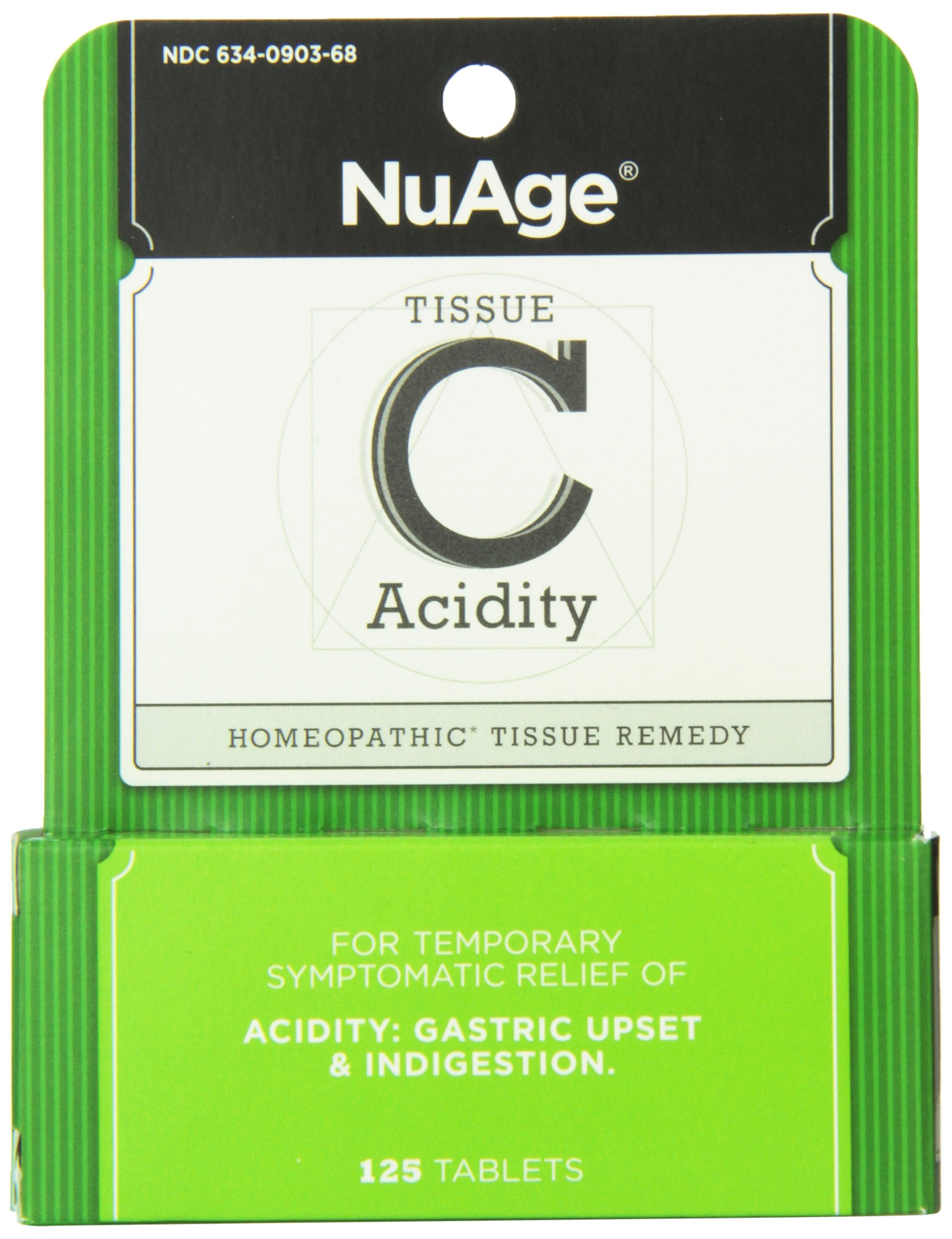 NuAge Homeopathic Tissue C Acidity Remedy, Natural Relief of Gastric Upset and Indigestion, 125