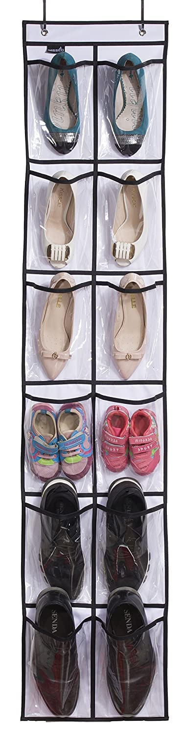 MISSLO Over The Narrow Door Shoe Organizer with 12 Crystal Pockets Hanging Closet Door 2 Packs, White