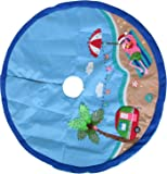 Brighten the Season Beach Flamingo Tree Skirt One Size Blue/pink