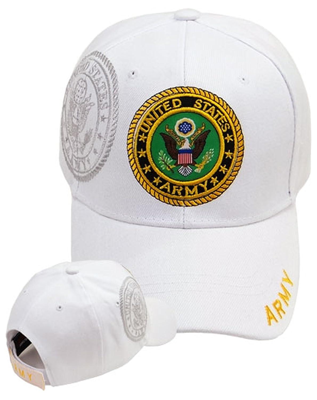 6541734b14a Amazon.com  Army Baseball Cap White U.S. Military Logo Hat Mens ...