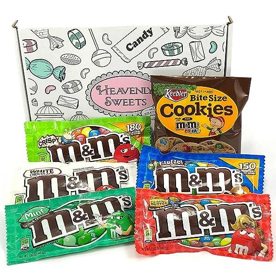 Mini Cesta Americana M&M | Chocolate y Caramelo | Golosinas para Navidad Reyes o para regalo