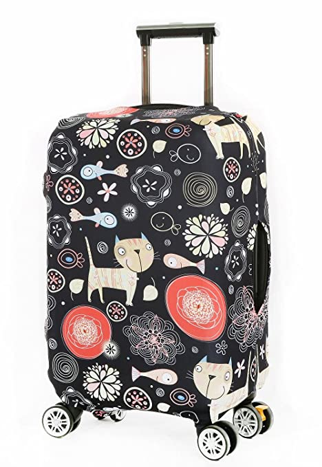 Funda Protectora de Maleta Spandex elástico protector viaje equipaje cubierta Carretilla caso protectora cubierta Pop Pez Gato (XL 30-32 pulgadas)