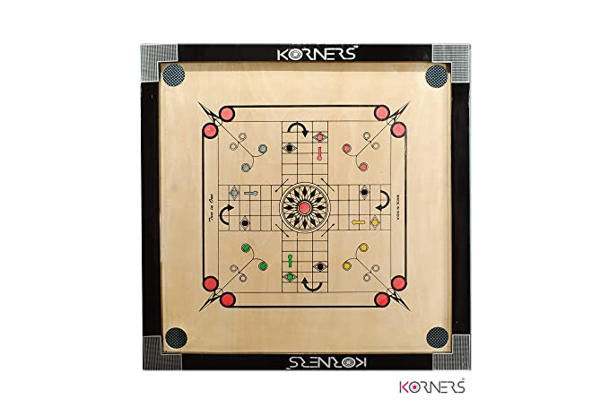 KORNERS Sky Medium Size Carrom with Ludo Board Including Coins, Striker, Powder & Ludo Coins (Round Pocket)