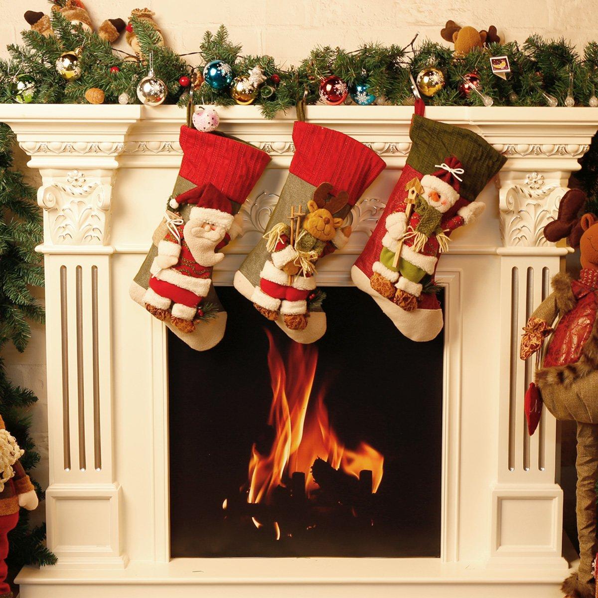 Moonmini 3d grande decorazione Natale Calza idea regalo Hanging Bag Cute Novelty Ornament Craft (Pupazzo di neve)