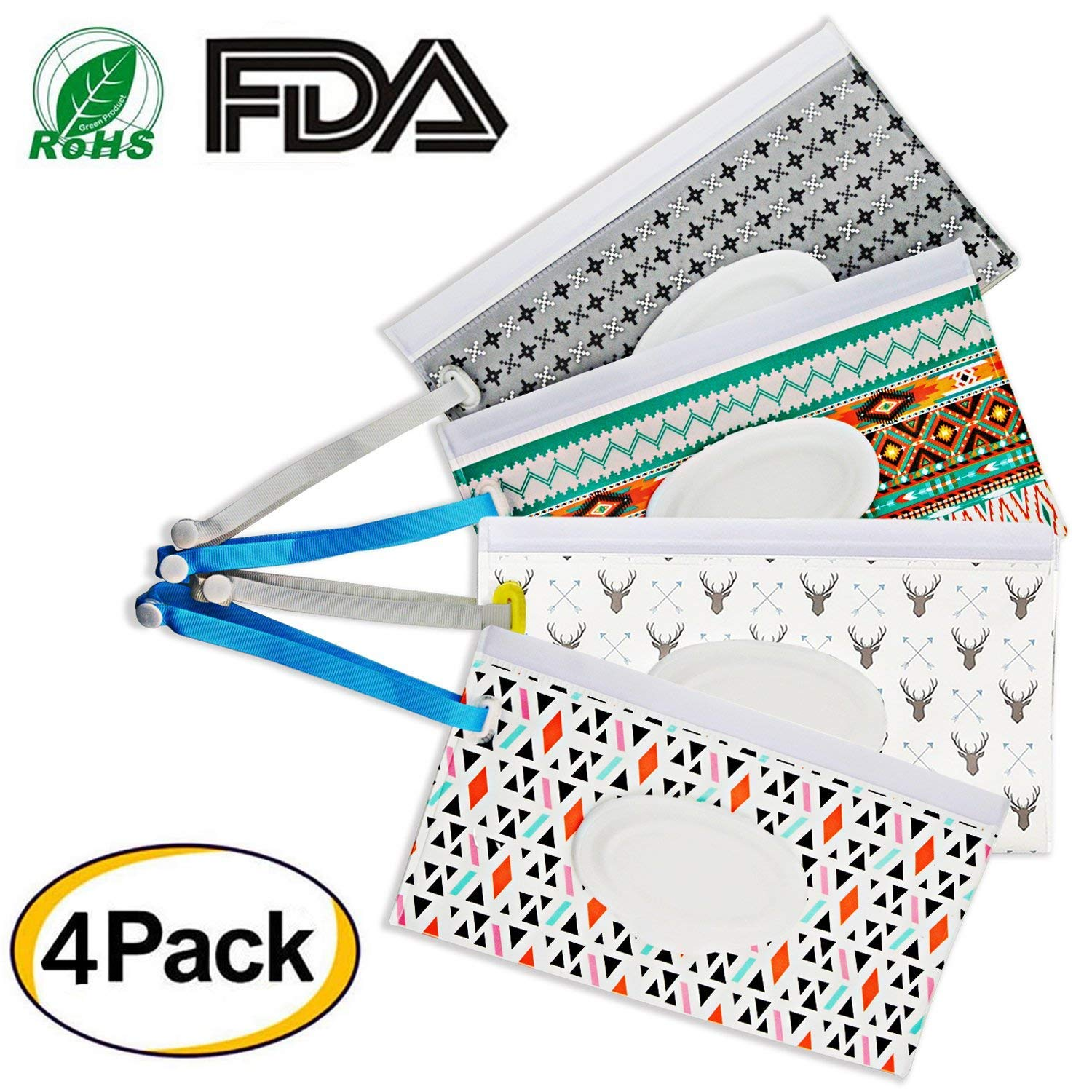 Reusable Wet Wipe Pouch Dispenser for Baby Or Personal Wipes, Eco Friendly Wipe Pouches, Wet Wipe Portable Travel Cases(4PCS)