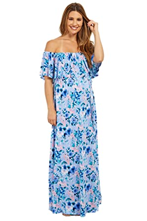 00bcbb10efb PinkBlush Maternity Light Blue Floral Off Shoulder Sash Tie Maternity Maxi  Dres