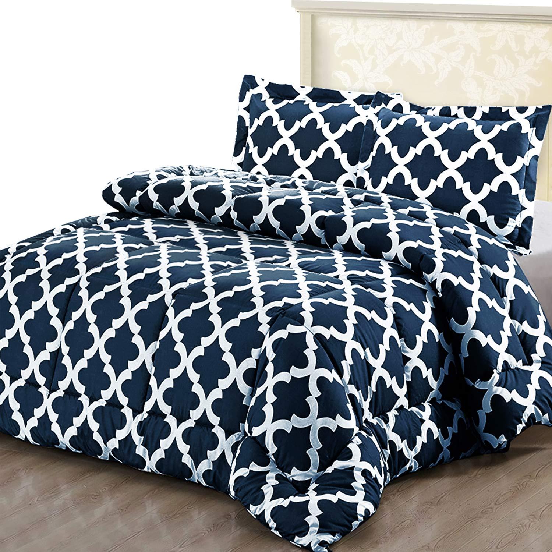 Comforter Sets Queen.Utopia Bedding Printed Comforter Set Queen Navy With 2 Pillow Shams Luxurious Brushed Microfiber Goose Down Alternative Comforter Soft And