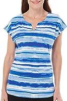 Caribbean Joe Womens Painted Stripe Ripple Top