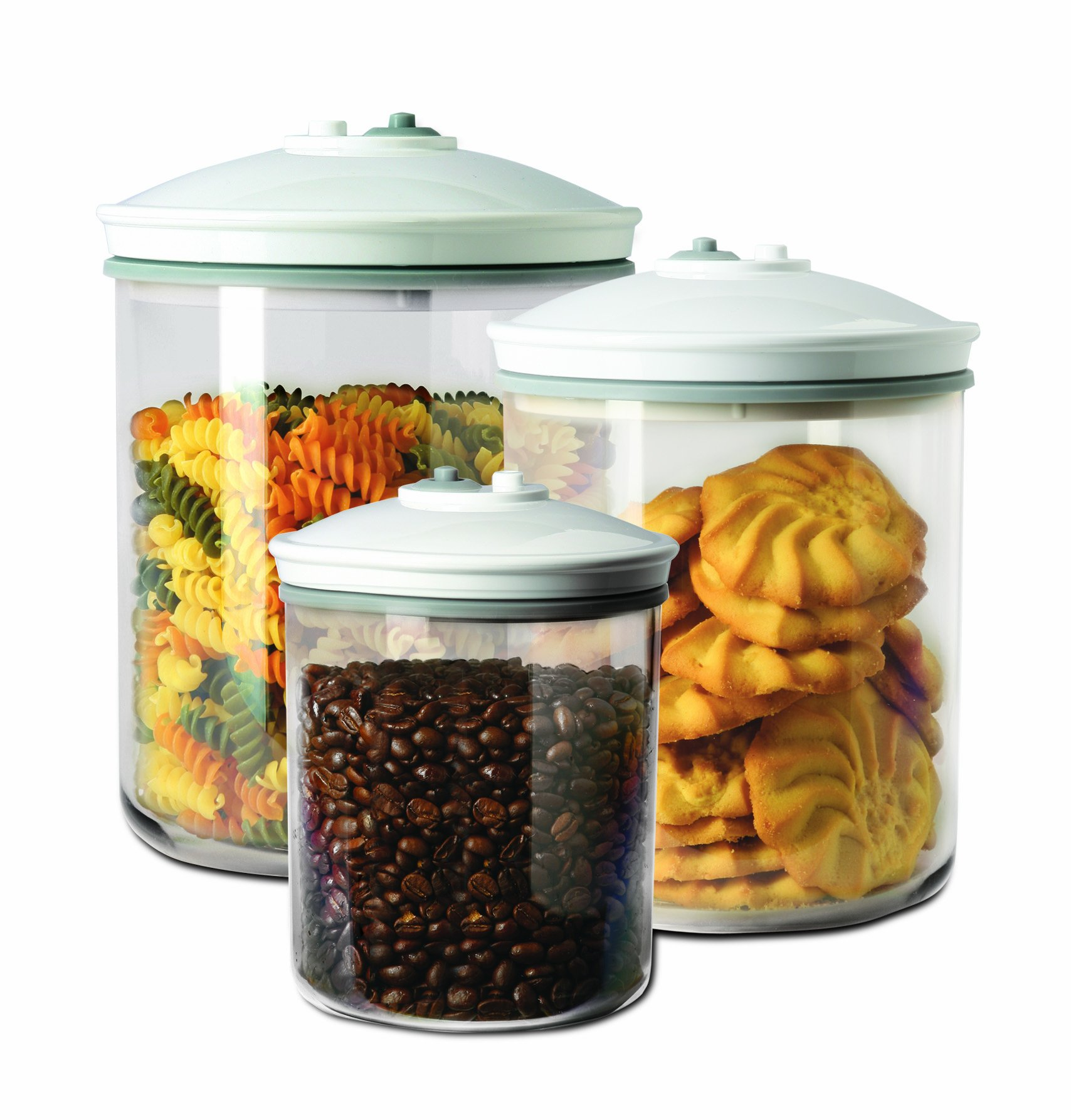 Food Saver FSC003-I 3 Piece Round Canister Set 0.7 L, 1.42 L and 2.37 L