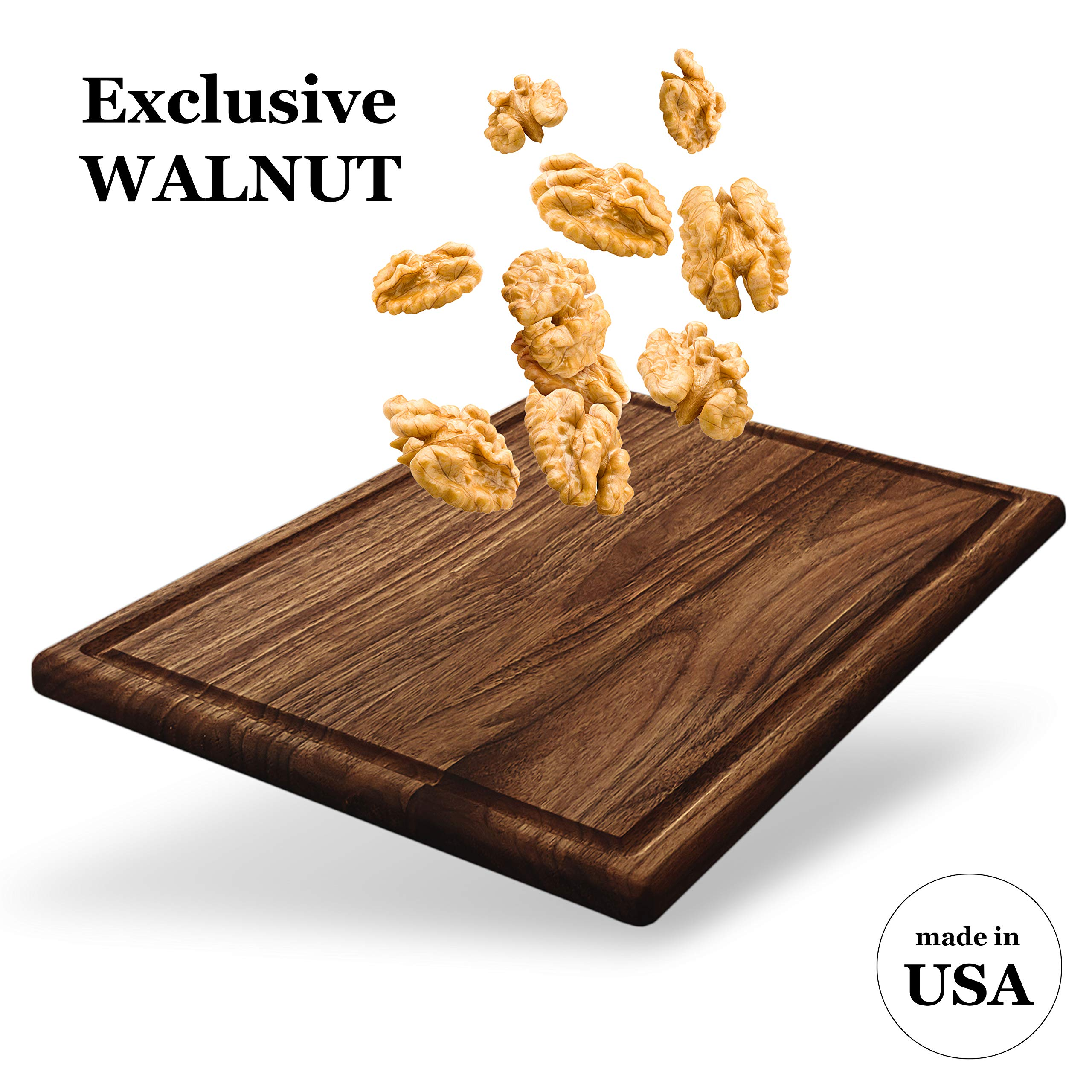 Walnut Premium Large Wood Cutting Board by V&B - 17x11 American Walnut Chopping and Carving Boards for Kitchen with Juice Drip Groove, E-book Gift