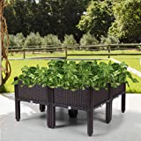 JAXPETY Raised Planter Box Garden Bed with Self Watering Planter Box for Flower Vegetable Grow, Coffee