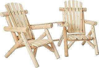 product image for Lakeland Mills CFU329 Cedar Log Vista Tete Outdoor Chairs, Natural