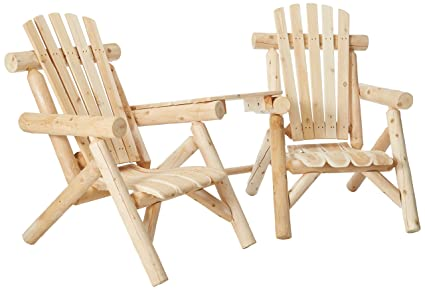 Charmant Lakeland Mills CFU329 Cedar Log Vista Tete Outdoor Chairs, Natural