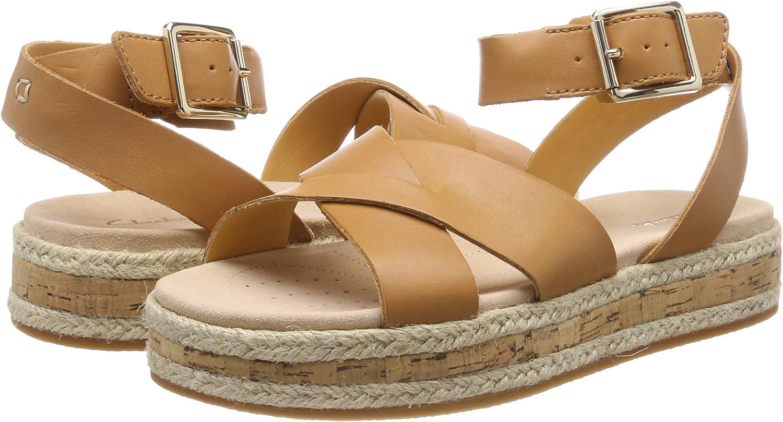 CLARKS Botanic Poppy Womens Sandals with Leather Leather Platform
