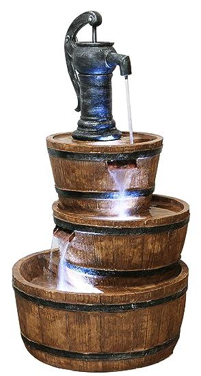 Fontaine à Trois Etages - Tonneau en Résine: Amazon.fr: Jardin
