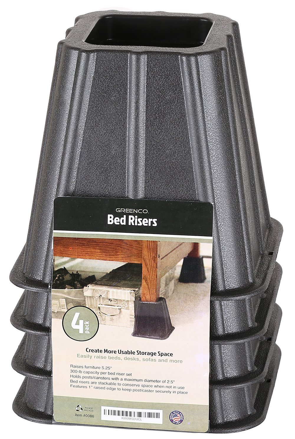 Extra tall bed risers - Amazon Com Set Of 4 Bed Risers Raise Furniture Create Underbed Storage Home Kitchen