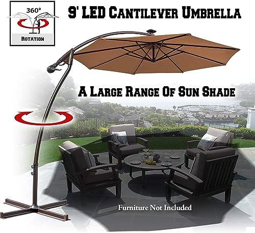 BenefitUSA U022-270 9 Cantilever Style 40 LED Lighting 360 Degree rotated for Backyard Outdoor Garden Tan Patio Umbrella