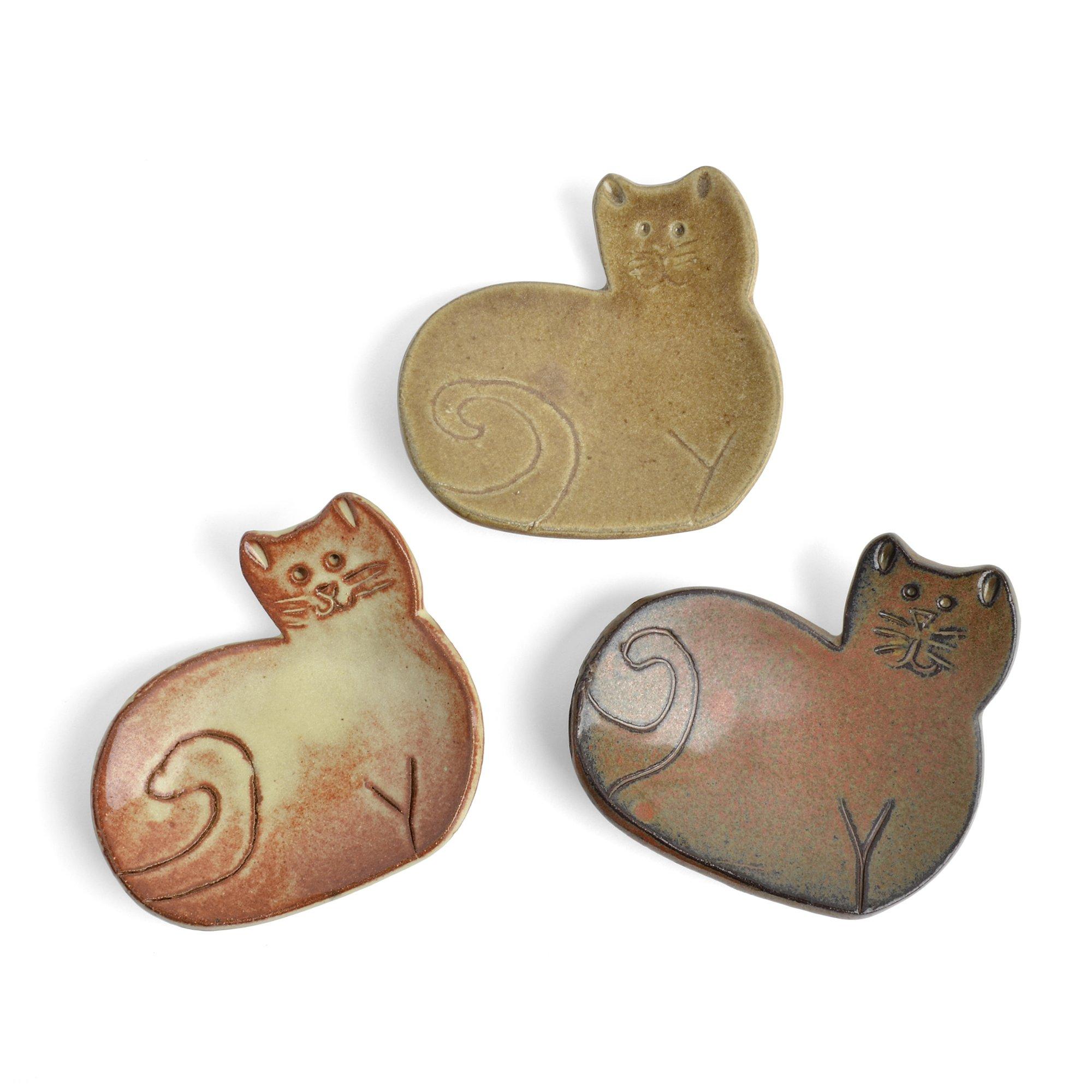 MudWorks Pottery Cat Tea Bag Coasters Trinket Plates, Set of 3