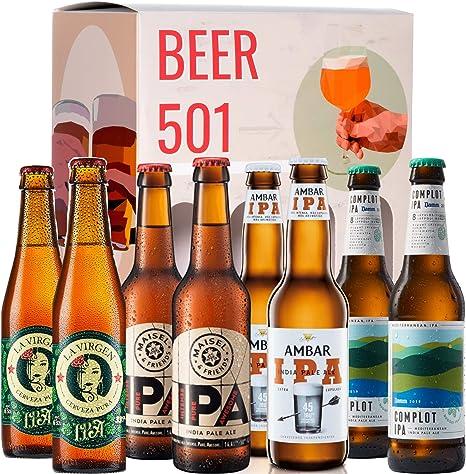 Pack de cervezas degustación BEER 501 - Caja Cerveza IPA: La Virgen IPA, Maisel IPA, Ambar IPA y Complot IPA. I La mejor selección de cervezas para regalar y disfrutar.: Amazon.es: Alimentación