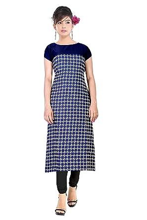 88b4b3ba8b0 Florro Women s Indo Western Clothing Latest Designer Printed Blue and Cream  Crepe Long Kurti Round Neck Straight Casual Wear Kurta For Girls   Amazon.in  ...