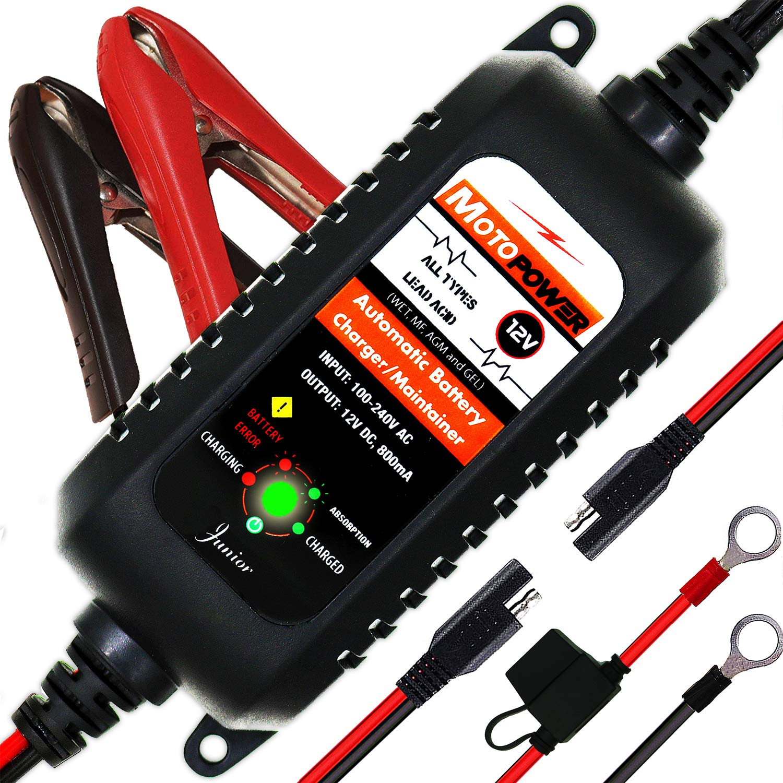 MOTOPOWER MP00205A 12V 800mA Entièrement Chargeur de Batterie Automatique/Mainteneur pour Voitures, Motos, ATV, RVS, Powersports, Bateau et Plus Encore product image