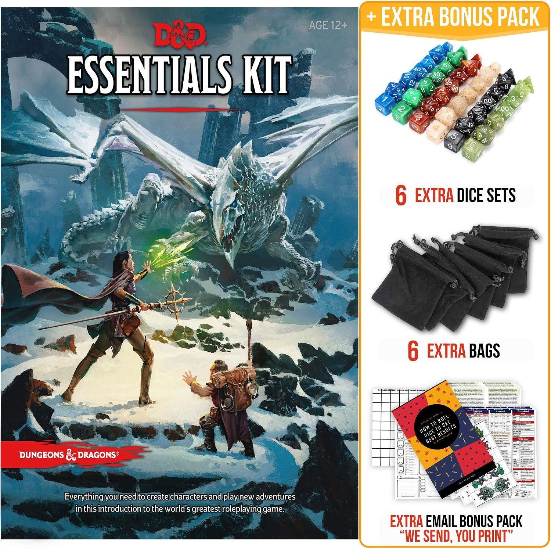 Dungeons and Dragons Essentials Kit 5ª edición con paquete de inicio completo – 6 D&D Dice Sets en bolsas negras y DND Principiante Imprimibles Materiales: Amazon.es: Juguetes y juegos