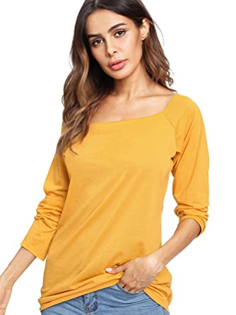 94c600dd8f01 ROMWE Women s Raw Cut Off the Shoulder Long Sleeve Tee Shirt Top Blouse  Yellow S