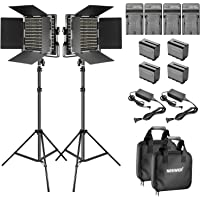 Neewer 2-Paquete Regulable Bi-Color 660 LED Luz Video con Barra y Soporte 6,6 Pies, Paquete 6 Baterías Recargables Li-ion 6600mAh y Kit de Iluminación Cargador para Foto Estudio Youtube Video Shooting