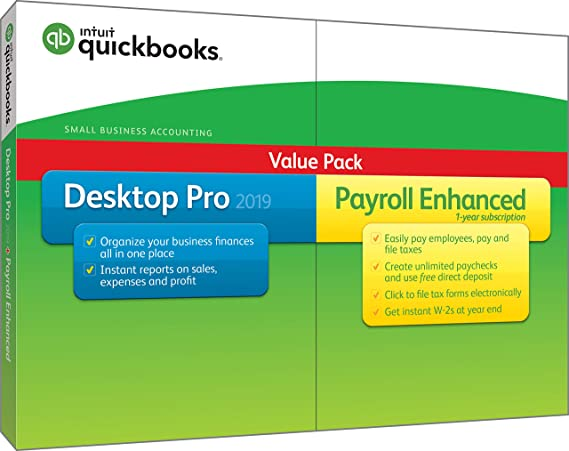 Intuit QuickBooks Desktop Pro 2019 with Enhanced Payroll [PC Disc]