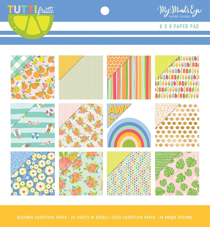 My Minds Eye TUT110 Lot de 24 blocs de papier double face Tutti Frutti 12 motifs 15,2 x 15,2 cm