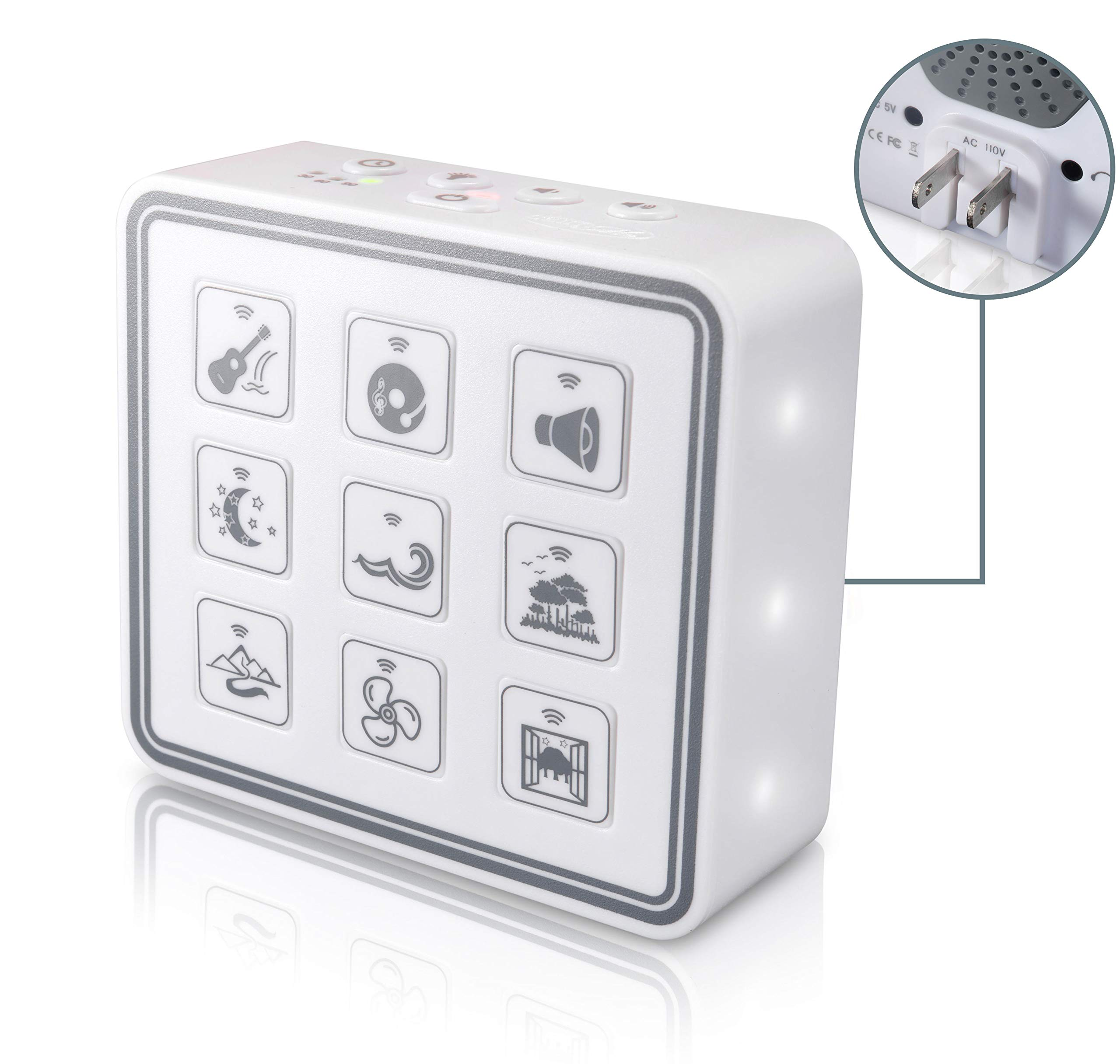 Portable & Compact Plug-in Nightlight White Noise Sound Machine-Relaxing Sleep Therapy for Adults & Baby w/9 Natural Sound Settings, Auto Timer, Headphone Jack & USB Cord - for Home & Travel (White) by Calm Me